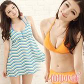 仙仙小舖 SQ12019橘/藍 花漾甜心 三件式比基尼泳衣 泳裝 溫泉SPA泡湯