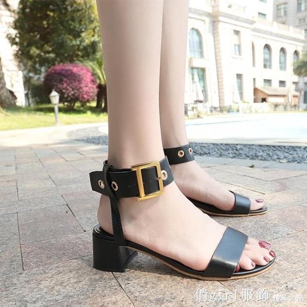羅馬涼鞋 夏季新款中跟粗跟皮帶扣韓版涼鞋女休閒學生皮帶扣綁帶女鞋子 開春特惠