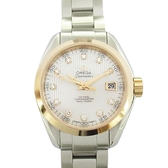 OMEGA 歐米茄 鑲11P鑽玫瑰金錶殼不鏽鋼腕錶 Seamaster Aqua Terra 150米