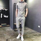 夏季潮流男士短袖T恤連帽薄套裝韓版修身精神社會人小伙帥氣一套 「時尚彩虹屋」