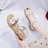 2020簡約花朵風涼鞋女學生夏季新款女鞋韓版沙灘鞋平底厚底羅馬鞋 布衣潮人