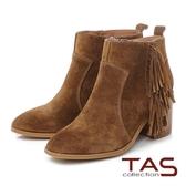 TAS 波希米亞流蘇擦色麂皮高跟短靴-橄欖棕