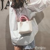 撞色水桶包包女韓版百搭子母包時尚單肩斜跨小包 港仔會社