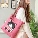 側背包~啵啵貓日系貓咪包 黑啵啵貓個性橫條紋側背包/肩背包/手提包/拼布包包