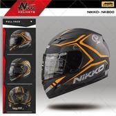 [中壢安信]新款 Nikko NK-800T NK800T #4 彩繪 消光黑橘 鐵網 全罩 安全帽 美式風格