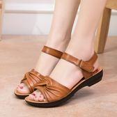 媽媽涼鞋軟底老年奶奶鞋老人防滑舒適平底中年中老年女鞋夏季