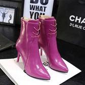 秋冬新款加絨短靴系帶細跟女靴高跟鞋尖頭馬丁靴短筒紫色靴子