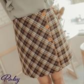 褲裙 學院風格紋側排扣毛呢褲裙-Ruby s 露比午茶