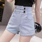 牛仔短褲 女高腰顯瘦彈力港風修身收腹2021年夏季新款寬鬆直筒短褲 維多原創