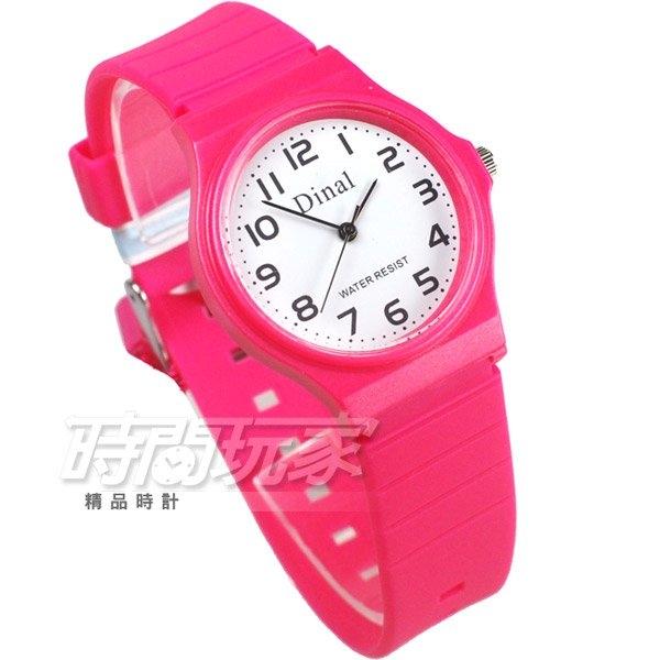 Dinal 時尚數字 簡單腕錶 防水手錶 數字錶 女錶 學生錶 桃紅色 D1307桃