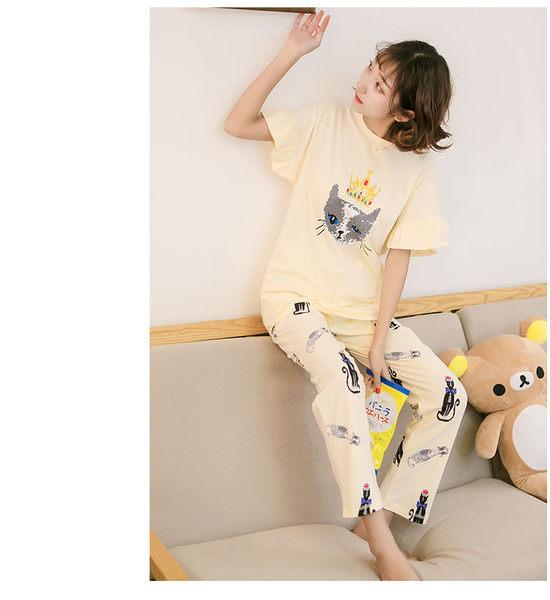睡衣女夏 韓版性感蕾絲V領吊帶家居服套裝 甜美條紋帶胸墊睡衣-wow0016