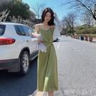 醋酸緞面牛油果綠吊帶洋裝女春秋高端內搭打底中長裙外穿背心裙 蘿莉新品