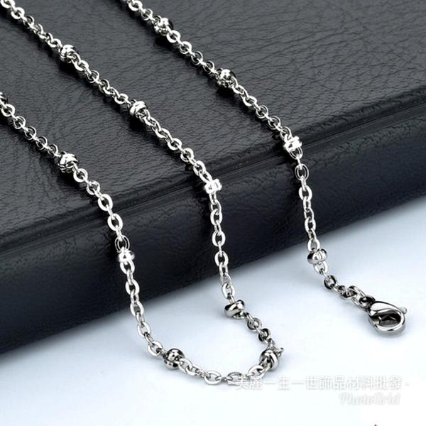 60公分x夾珠西德白鋼項鍊不退色不銹鋼項鏈批發項鍊批發鈦鋼