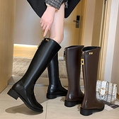 不過膝長靴女2021秋冬新款網紅高筒騎士靴顯瘦及膝靴后拉鏈平底靴3C數位百貨