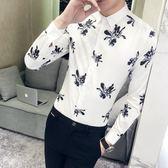 FINDSENSE G6 韓國時尚 春季新款男士長袖襯衫個性花卉碎花印花襯衫