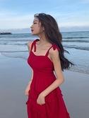 沙灘裙巴厘島海邊度假旅游衣服女三亞長裙紅色吊帶裙超仙連身裙夏 韓美e站