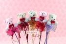 一定要幸福哦~~抱心小熊玫瑰花棒,婚禮小物、結婚宴客、二次進場