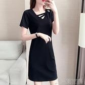 洋裝含棉連身裙小個子夏季新款 V領短袖寬鬆休閒大碼顯瘦小黑裙 快速出貨
