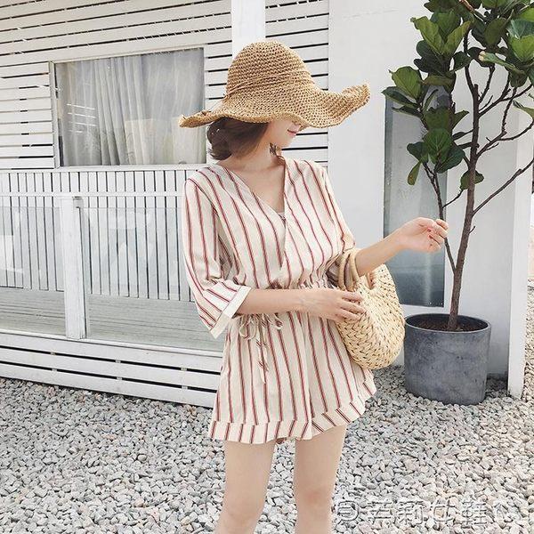 雪紡連身短褲2019新款V領印花高腰雪紡闊腿褲女夏  貝芙莉