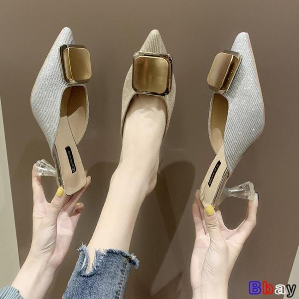 Bbay 穆勒鞋 尖頭 半拖鞋 外穿 中跟 單鞋 方扣 細跟 涼拖