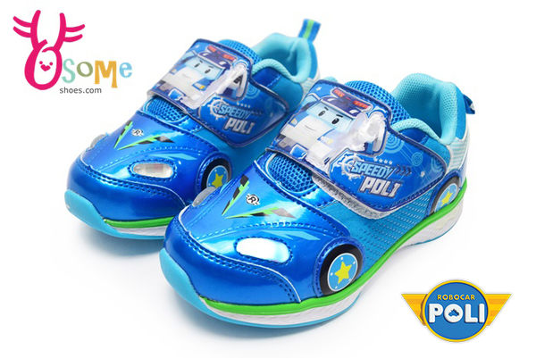 POLI 波力 運動鞋 超光束車頭燈 輕量 跑步鞋 F8179#藍色◆OSOME奧森童鞋/小朋友