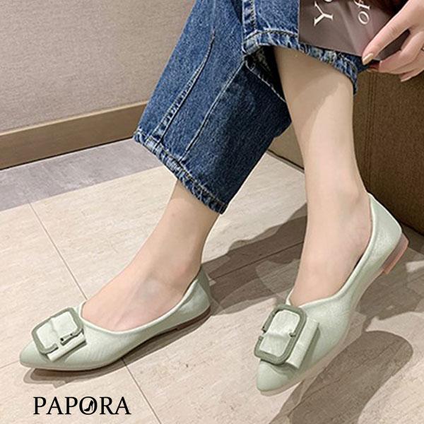 PAPORA百搭輕盈娃娃平底包鞋KP82黑/綠(特價)