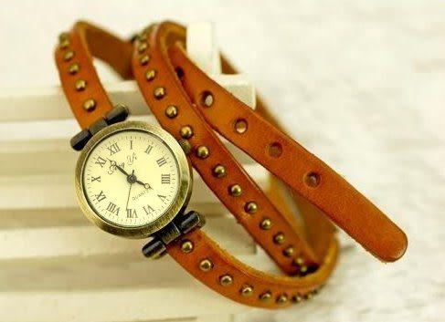 韓版多層纏繞皮帶 鉚釘復古手錶  情人節禮物【Vogues唯格思】C035
