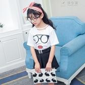 童裝女童套裝韓版印花純棉T恤裙褲女孩時尚短裙潮 俏女孩