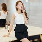 卡樂store...專櫃女裝撞色荷葉邊拼接無袖圓領高腰連身裙 S-XL 2色 #ynn6643