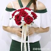 紅玫瑰手捧花 婚紗攝影道具捧花 中式婚禮新娘仿真玫瑰滿天星捧花