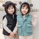 兒童羽絨棉馬甲冬季加厚加絨嬰兒女男童坎肩羊羔連帽外套寶寶背心 小山好物