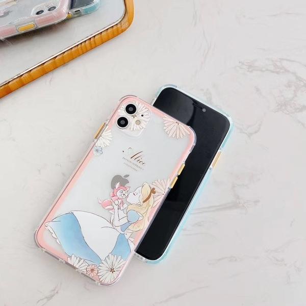 iPhone12 蘋果手機殼 可掛繩 美人魚和愛麗絲 矽膠軟殼 iX/i8/i7/SE