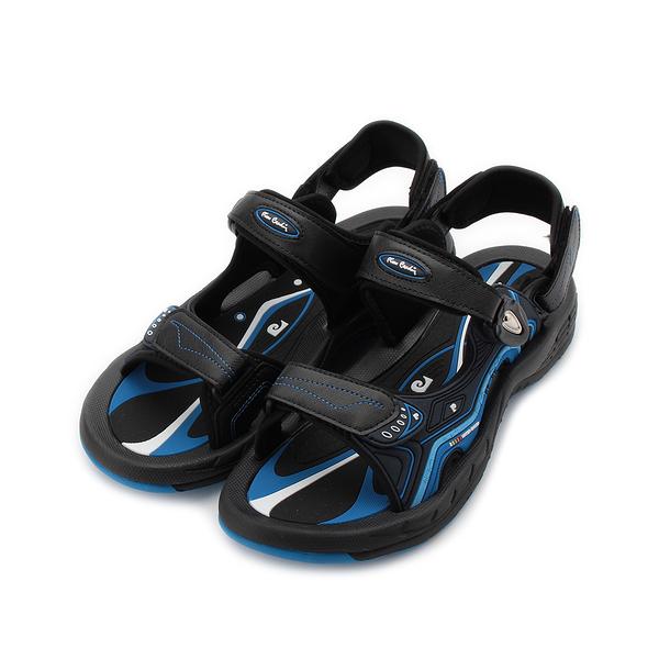 皮爾卡登 磁扣彈力運動涼鞋 黑藍 男鞋 鞋全家福