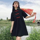 旗袍 裙子女夏裝新款中國風改良少女旗袍復古盤扣顯瘦中長款洋裝·夏茉生活