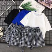 時尚套裝女休閒運動套裝女夏季2019新款時尚正韓學生寬鬆格子短褲短袖兩件套
