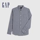 Gap男裝 府綢布彈力角扣翻領襯衫 624805-藍色方格