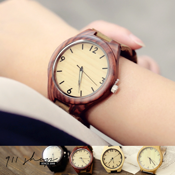 Wreath.手工木造錶。天然檀木竹木單數字雙色真皮錶帶手錶【ta462】*911 SHOP*