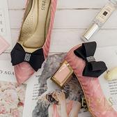 韓國直送-黑色蝴蝶結水鑽鞋扣鞋夾配飾