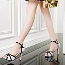 魚口鞋 2021夏新品魚嘴高跟涼鞋細跟一字扣帶厚底防水臺性感顯瘦拼色女鞋
