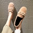 新款韓版時尚百搭秋季毛毛鞋穆勒鞋一腳蹬樂福鞋 萬客居