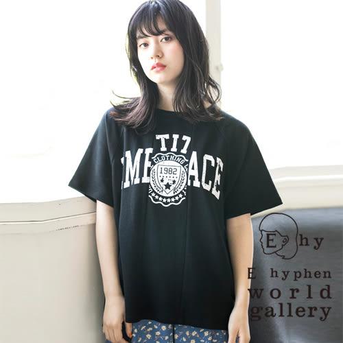 ❖ Hot item ❖ 標語印刷圖案短袖大學T恤 - E hyphen world gallery