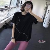 排汗衣 夏季運動短袖女寬鬆跑步罩衫健身房速幹T恤網紅半袖瑜珈服 2色