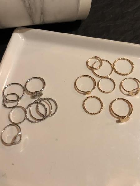 甜柚組合套裝素圈戒指女時尚個性簡約冷淡風格尾戒小指環配飾PA30