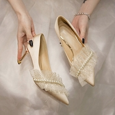 細高跟鞋 高跟鞋女2021年新款細跟女鞋平時可穿新娘婚紗鞋伴娘鞋香檳色婚鞋 非凡小鋪