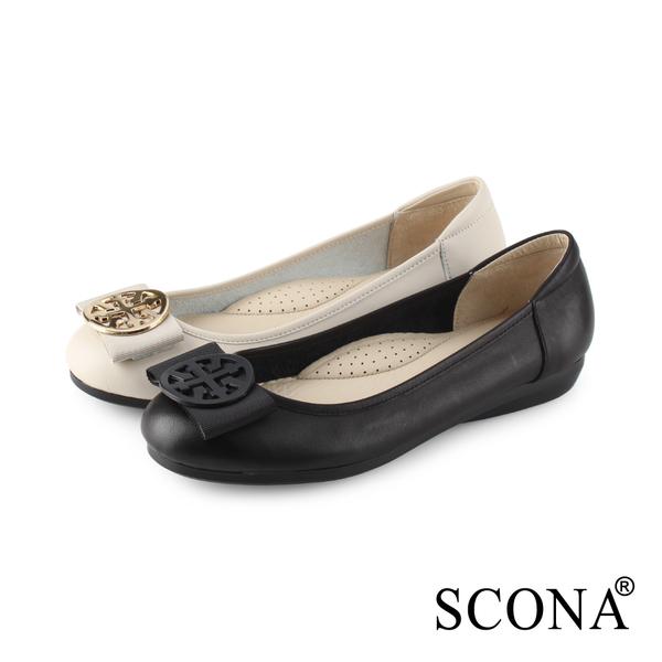 SCONA 蘇格南 全真皮 氣質舒適平底娃娃鞋 黑色 31030-1