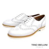 Tino Bellini義大利經典真皮雕花牛津鞋_白 A83085A 歐洲進口款