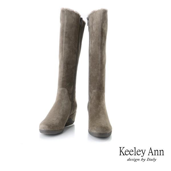 ★2019秋冬★Keeley Ann極簡魅力 暖心冬季雙拉鍊楔型長靴(卡其色)