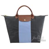 茱麗葉精品【全新現貨】 Longchamp Le Pliage 折疊條紋手提旅用包.深灰 大#1801