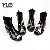 中筒馬丁靴女士休閒雨鞋 雨靴 雨靴短筒水鞋都市雨靴防滑時尚正韓膠鞋套鞋女