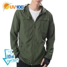 UV100 防曬 抗UV-涼感導流透氣口罩連帽外套-男
